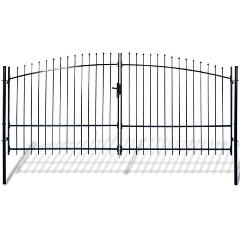 Puerta doble para valla con puntas de lanza 400x248 cm