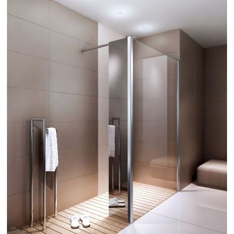 Puerta fija para mampara de ducha a nivel en cristal auténtico Nano EX106 - Espejo - 30 x 200 cm