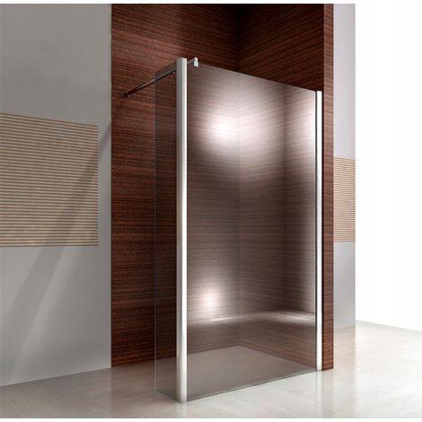 Puerta fija para mampara de ducha a nivel en cristal auténtico Nano EX106 - vidrio transparente - 30 x 200 cm