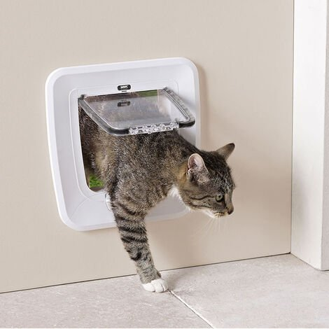 Puerta gatera color blanco | Entrada para gatos Access 4-Way| Puerta para gatos