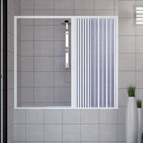 Puerta Mampara de bañera 140 CM de PVC mod. Nina con apertura Lateral