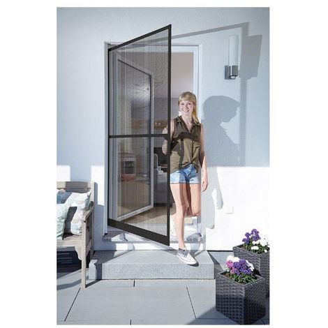 Puerta mosquitera abatible basic marron 100x210cm