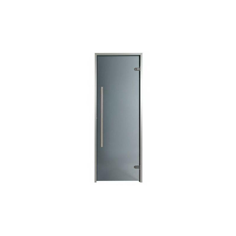 Puerta para Hammam premium 100 x 190 cm paso silla de cuenta silla de manija vertical teñida de gris teñido