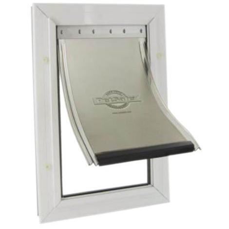 Puerta para perros y gatos, de aluminio lacadas en blanco, muy resistente, apta de todas las razas y medidas, a prueba de viento, disponible en varias medidas.