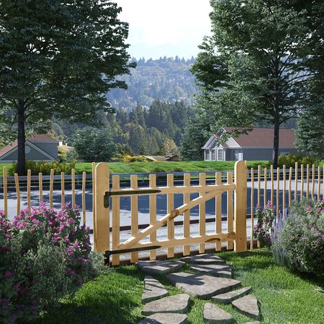 Puerta para valla madera de avellano 100x60 cm - Beige