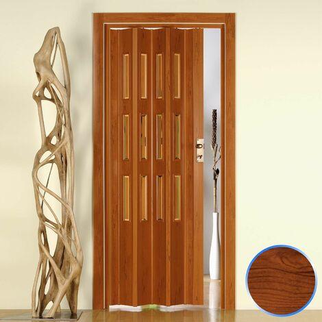 Puerta plegable de interior de PVC 88,5x214 cm Cerezo - Vidrio Transparente mod.Luciana