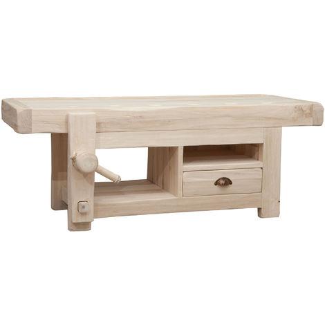 Puerta TV de madera maciza de tilo bruto L120Xpr65 XH45 cm