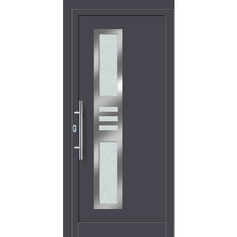 Puertas de casa aluminio modelo 453A dentro: blanco, fuera: titanio
