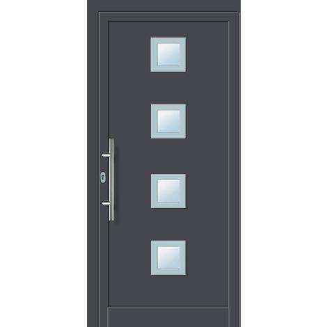 Puertas de casa aluminio modelo 484A dentro: blanco, fuera: titanio