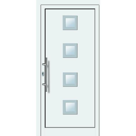 Puertas de casa aluminio/plástico modelo 484 dentro: blanco, fuera: titanio