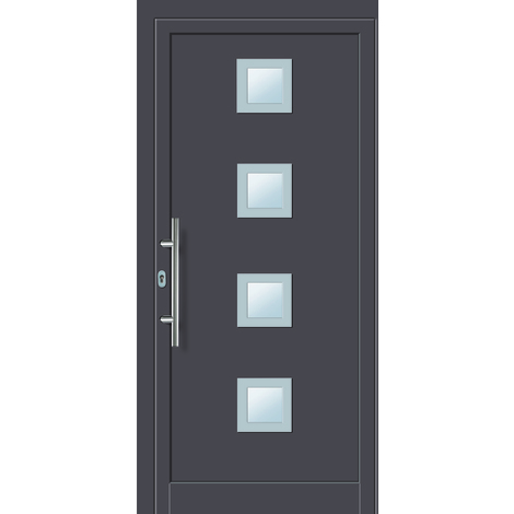 Puertas de casa aluminio/plástico modelo 484 dentro: titanio, fuera: titanio