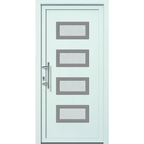 Puertas de casa aluminio/plástico modelo 492 dentro: blanco, fuera: titanio