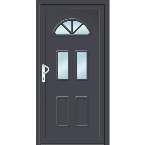 Puertas de casa clásico modelo B6 dentro: blanco, fuera: titanio ancho: 108cm, altura: 208cm DIN derecha