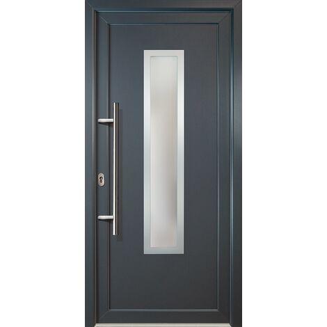 Puertas de casa clásico modelo C1 dentro: blanco, fuera: titanio ancho: 98cm, altura: 200cm DIN izquierda