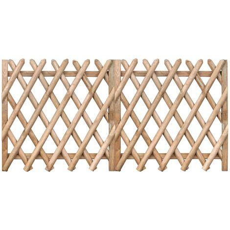 Puertas de valla 2 uds madera pino impregnada 300x100 cm