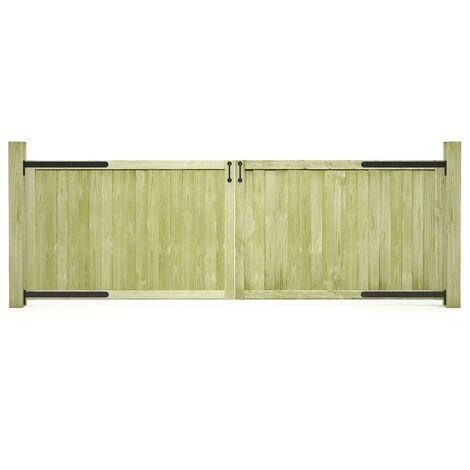 Puertas de valla madera 2 uds de pino impregnada 300x100 cm - Verde