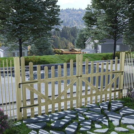 Puertas de valla madera de pino impregnada 2 uds 150x150 cm - Verde