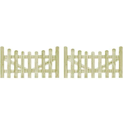 Puertas de valla madera de pino impregnada 2 uds 150x80 cm