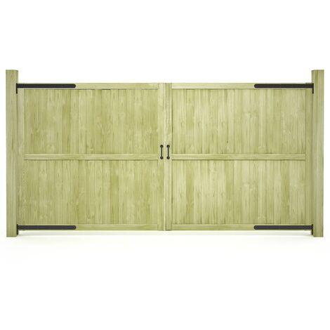 Puertas de valla madera de pino impregnada 2 uds 300x150cm - Verde