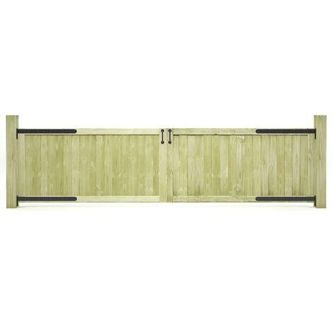 Puertas de valla madera de pino impregnada 300x75 cm 2 uds
