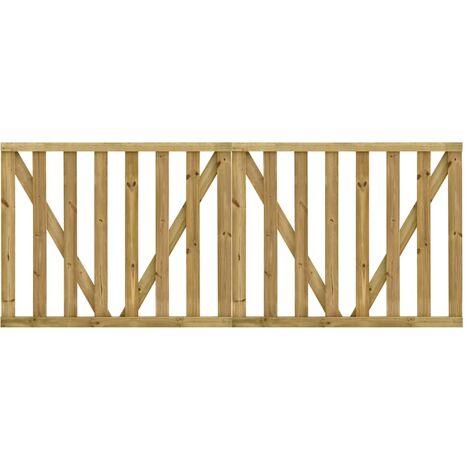Puertas listones jardín 2 uds madera pino impregnada 150x120 cm