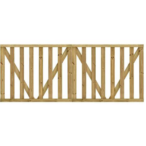 Puertas listones jardin 2 uds madera pino impregnada 150x120 cm