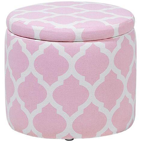 Puf con almacenaje rosa/blanco TUNICA