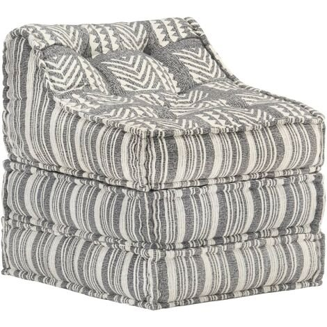 Puf modular de tela de rayas grises - Gris