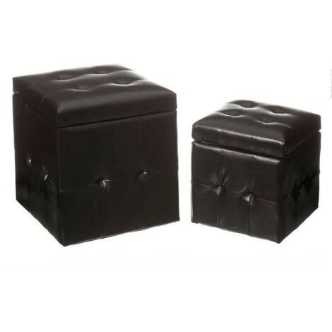 Puff Arcón Negro de Polipiel, Puf Almacenaje Set 2. Arcón de almacenamiento 39x39x43 cm