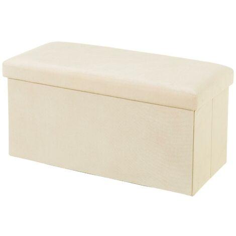 Púff arcón plegable beige vintage de terciopelo de 38x38x76cm