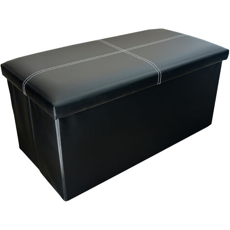 Puff/Arcón Plegable Color Negro para Almacenaje Acolchado. Original/Práctico 76x38x35cm.-Hogar y Más