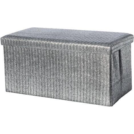 Puff/Arcón plegable de almacenamieto en color plateado. Elegante/Original (76x38x38 cm).-Hogarymas-