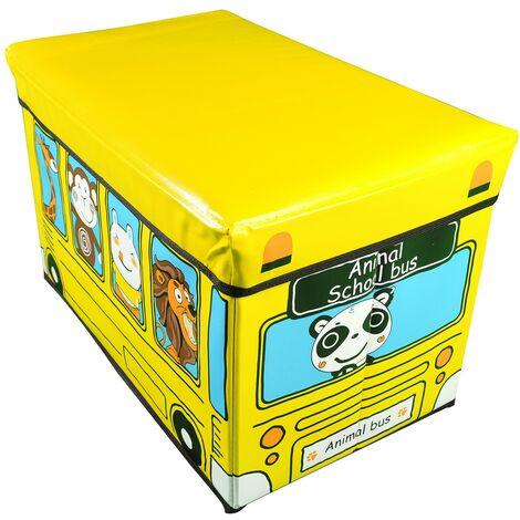Puff/Baúl Infantil Plegable, almacenamiento de juguetes, de color Amarillo. Diseño Autobús con animales 48x31x31cm.-Hogarymas-
