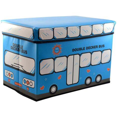 Puff/Baúl Infantil Plegable para almacenamiento de juguete. Diseño Autobús Azul 48x31x31cm.-Hogarymas-