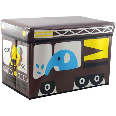 Puff/Baúl Infantil Plegable para almacenamiento de juguetes, color Chocolate. Diseño Autobús 48x31x31cm.-Hogarymas-