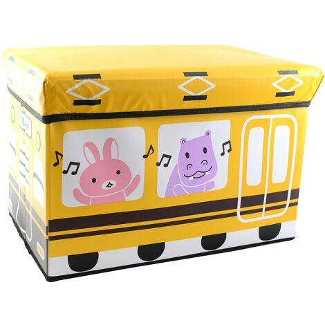 Puff/Baúl Infantil Plegable para almacenamiento de juguetes, de color Amarillo. Diseño Autobús 48x31x31cm.-Hogarymas-