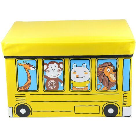 Puff/Baúl Infantil Plegable para almacenamiento de juguetes, de color Amarillo. Diseño de Autobús 48x31x31cm.-Hogarymas-
