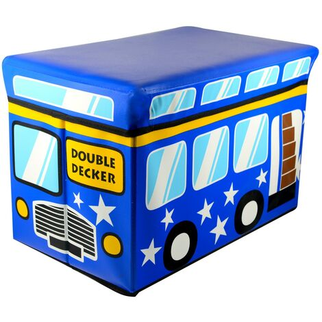 Puff/Baúl Infantil Plegable para almacenamiento de juguetes, de color Azul. Diseño Autobús 48x31x31cm.-Hogarymas-