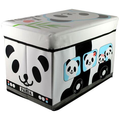 Puff/Baúl Infantil Plegable para almacenamiento de juguetes, de color Blanco y Negro. Diseño Oso Panda 48x31x31cm.-Hogarymas-