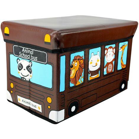 Puff/Baúl Infantil Plegable para almacenamiento de juguetes, de color Chocolate. Diseño Autobús 40x25x25cm.-Hogarymas-