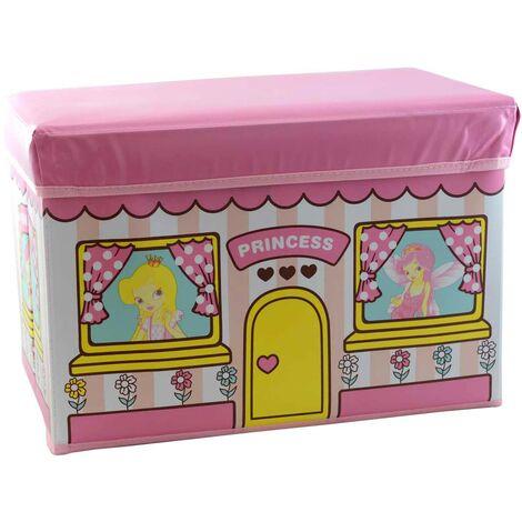 Puff/Baúl Infantil Plegable para almacenamiento de juguetes, de color Rosa. Diseño de Princesas 48x31x31cm.-Hogarymas-