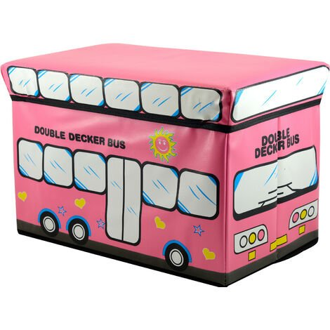 Puff/Baúl Infantil Plegable para almacenamiento de juguetes, de color Rosa para Niños. 48x31x31cm.-Hogarymas-