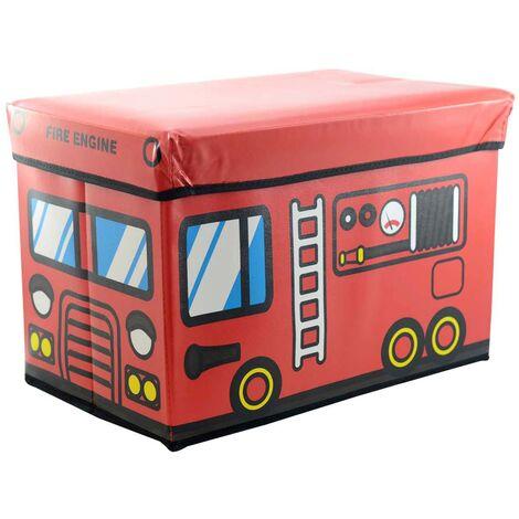 Puff/Baúl Infantil Plegable para almacenamiento de juguetes, Diseño Camión de Bomberos. 48x31x31cm.-Hogarymas-