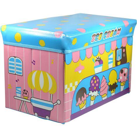 Puff/Baúl Infantil Plegable para almacenamiento de juguetes, Diseño de Helados 48x31x31cm.-Hogarymas-