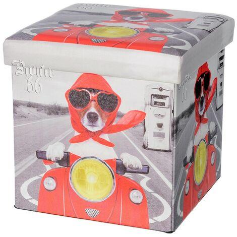 Puff/Baúl Infantil Plegable para almacenamiento de juguetes, Diseño de Perro Motero 36x36x36cm.-Hogarymas-