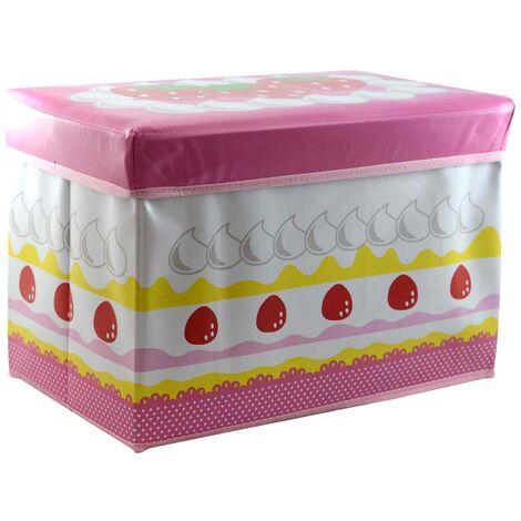 Puff/Baúl Infantil Plegable para almacenamiento de juguetes, para Niños. Diseño tarta de Fresa 31x48x31cm.-Hogarymas-
