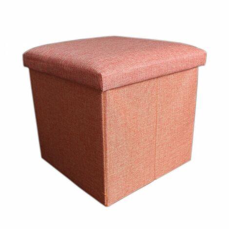 Puff/baúl plegable de almacenamiento Acolchado, color Naranja. Diseño Original/Moderno 38 x 38 x 38 cm.- Hogar y Mas-
