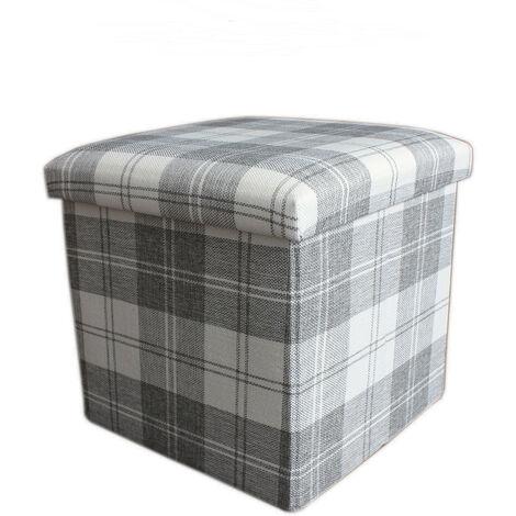 Puff/baúl plegable de almacenamiento, Acolchado de Cuadros. Diseño Original/Moderno 38x38x38 cm.- Hogar y Mas-