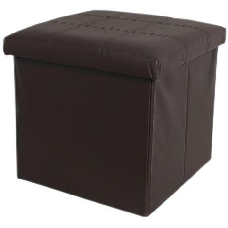 Puff/baúl plegable de almacenamiento. Diseño minimalista color chocolate. Elegante/Práctico.-Hogar y Mas-