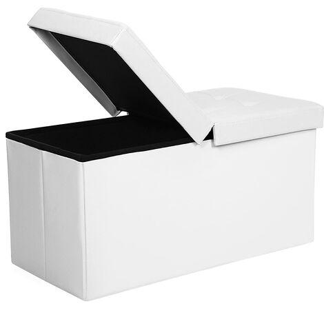 Puff Baúl Plegable Taburete de almacenamiento 80 L Tapa plegable Carga máxima de 300 kg Blanco 76 x 38 x 38 cm LSF45WT